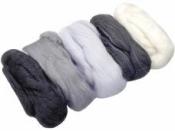 Merino plsť - vlna 50 g farebný mix - bielo-čiena