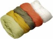 Merino plsť - vlna 50 g farebný mix - zeleno-oranžová
