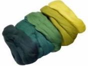 Merino plsť 50 g farebný mix - žlto-zelená