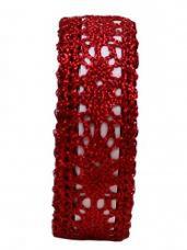 Čipkovaná stuha - čipka 17mm - metalická červená