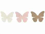 Drevený výrez 4 cm motýľ - biely