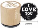 Okrúhla drevená pečiatka - I love  you