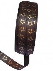 Saténová stuha 10 mm s hviezdičkami - hnedá