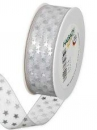 Vianočná organzová stuha 25 mm s hviezdičkami - biela