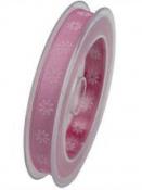 Organzová stuha s potlačou 15 mm - ružová