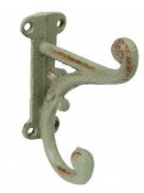 Ozdobný kovový hák 11cm - vintage zelený