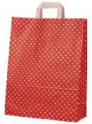 Papierová taška 22 x 18 cm - červená s bodkami