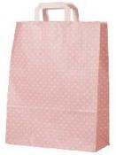 Papierová taška 22 x 18 cm - ružová s bodkami