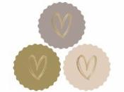 Papierové nálepky 5,5cm zlaté srdiečka - 3 kusy