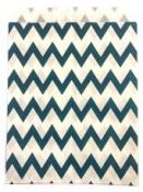 Papierové vrecko - 13 x 16 cm - modré cik-cak prúžky