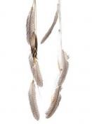 Dekorácia - pierka - na bielej koženej šnúrke