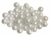 Plastové korálky perličky 8mm 10g - matné biele