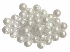 Plastové korálky perličky 10mm 20ks - matné biele