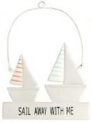 Plechová závesná dekorácia - plachetnice