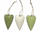 Plechové srdiečko 7 cm - zelené s prúžkami