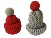 Pletená čiapka pre škriatka 4 cm - červená