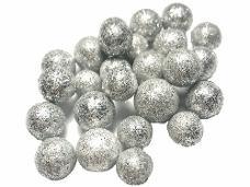 Glitrované guličky penové 1 cm - 5 g - strieborné