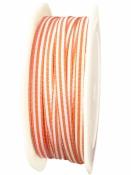 Látková stuha 5 mm pruhovaná - oranžová