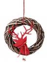 Prútený vianočný veniec s jeleňom - 35 cm