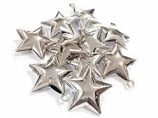 Rolnička hviezda 4 cm - platinová lesklá