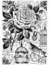 Ryžový papier A4 - ruža s klietkou