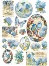 Ryžový papier A4 - modré vtáčiky a motýle