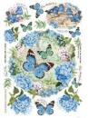 Ryžový papier A4 - hortenzie a motýle
