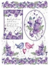 Ryžový papier A4 - fialové kvety