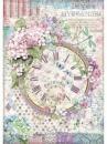 Ryžový papier A4 - hodiny a hortenzie