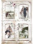 Ryžový papier A4 - Romantické kone - rámčeky