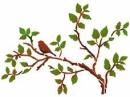 Šablóna 21 x 29,7cm - Vták na konári