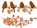 Šablóna 21 x 29,7cm - Vtáčiky na konári