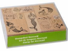 Sada drevených  pečiatok - 13ks - morské víly