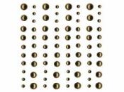 Samolepiace štrasy - 80ks - perly zlaté