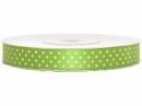 Saténová stuha bodkovaná 12 mm - jablková zelená