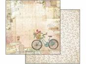 Obojstanný scrapbookový papier - Vintage bicykel