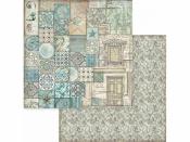 Obojstanný scrapbookový papier - Modrá mozaika