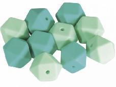 Silikónové korálky hexagon 14mm 10ks - mentolové