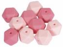 Silikónové korálky hexagon 14mm 10ks - ružové