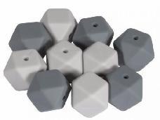 Silikónové korálky hexagon 14mm 10ks - sivé
