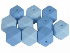 Silikónové korálky hexagon 14mm 10ks - svetlé modré