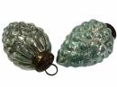 Sklenená vintage vianočná guľa 6 cm - šiška - tyrkysová