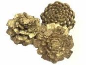 Šiška rezaná 6 cm - zlatá s glitrami
