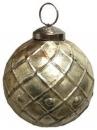 Sklenená vintage vianočná guľa 7 cm - platinová zlatá