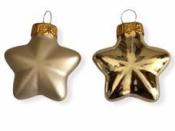 Sklenená vianočná ozdoba hviezda 4 cm - matná šampanská zlatá