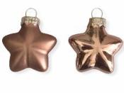 Sklenená vianočná ozdoba hviezda 4 cm - matná staroružová