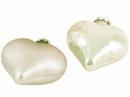 Sklenená vianočná ozdoba srdce 4 cm - biele matné