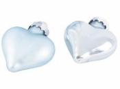 Sklenená vianočná ozdoba srdce 4 cm - ľadovomodré lesklé