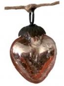 Sklenená vintage vianočná guľa 4 cm ružová - srdce