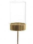 Sklenený adventný podstavec na čajovú sviečku - zlatý